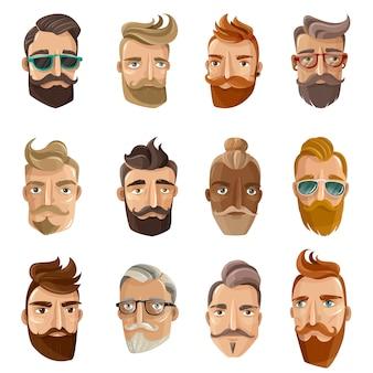 Hipster парикмахерская мультфильм люди set