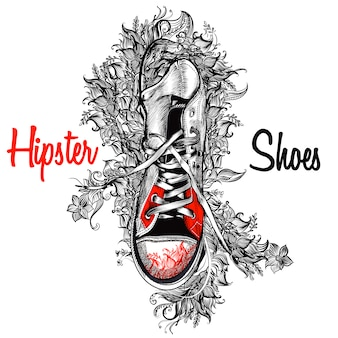 Hipster shoes background