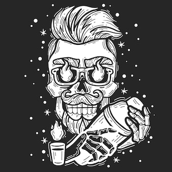 Hipster skull bartender. hipster skull bartender emblem