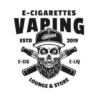 Hipster skull in cap and two crossed electronic cigarettes vector monochrome emblem, badge, label or logo isolated on white background