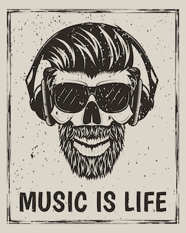 Hipster skull in glasses with mustache and beard listening to music