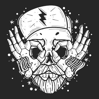 流行に敏感な頭蓋骨のイラスト