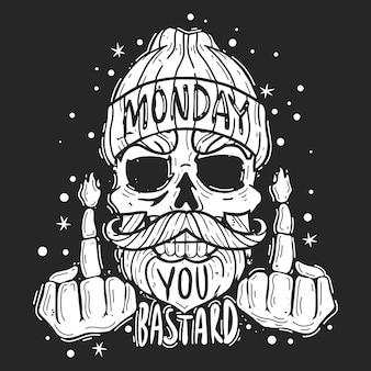 流行に敏感な頭蓋骨月曜日のスローガンイラスト