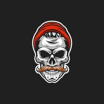 Hipster skull vector head illustration