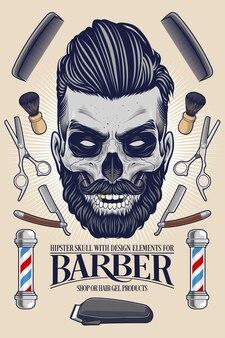Hipster skull with barber equipment