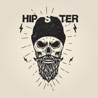 ヒップスター、頭蓋骨、ひげ、イラスト Premiumベクター
