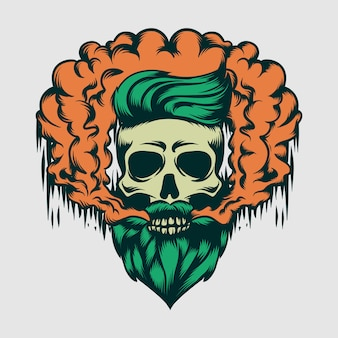 Hipster skull with smoke