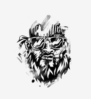 힙스터 흡연자. 콧수염과 수염을 가진 손으로 그린 힙스터 친구. 위드 담배. 벡터. 스티커, 로고, 엠블럼