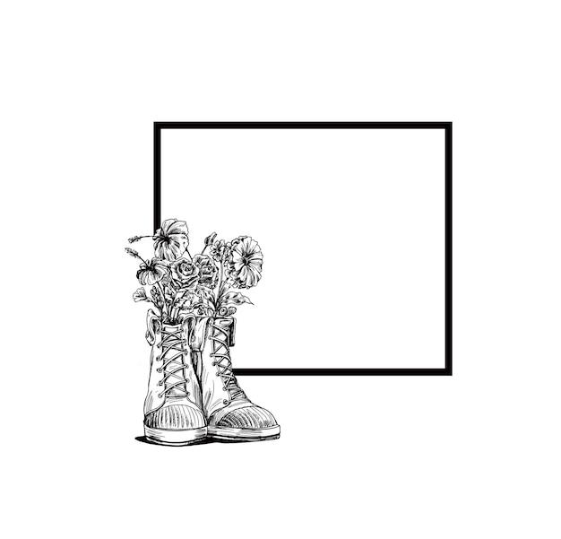 Хипстерские кроссовки в рисованной графике, векторные иллюстрации моды.