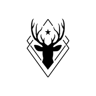 Hipster style deer logo - vector