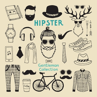 Hipster style elements set of male character. hand drawn funky elements for your  project. character hipster, and hair style drawing with beard illustration
