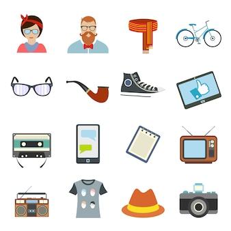 Hipster 스타일 플랫 요소 집합입니다. 자전거, 안경, 활, 파이프 및 카메라로 수집