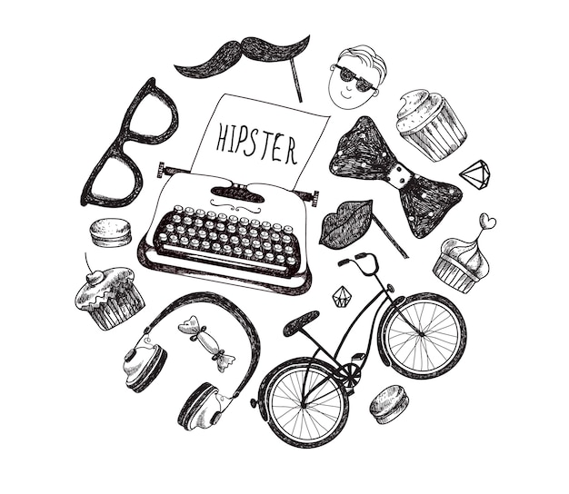 Hipster style infographics elements and icons set for retro . bicycle, sunglasses, mustache, type writer, headphones, bow tie. isolated