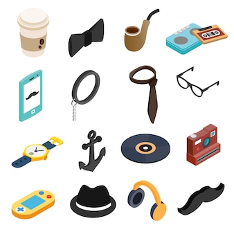 Hipster style isometric 3d icons set