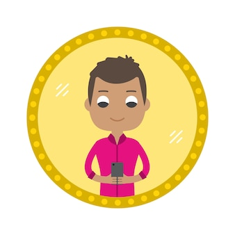 Hipster style man take a selfie in the mirror. vector flat design illustration in the circle isolated on background.
