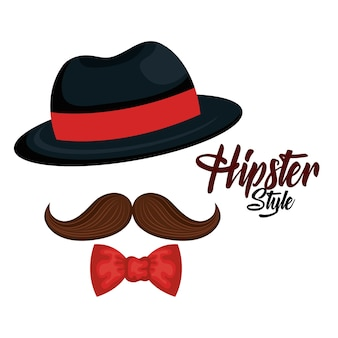 Hipster style moustache and hat