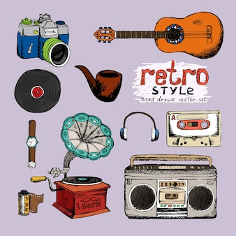 Hipster style music and photo vector hand drawn