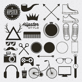 Hipster style set collection isolated icons