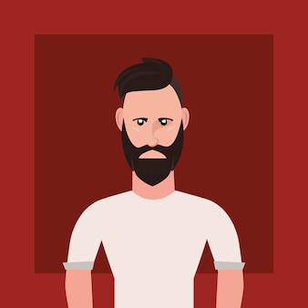Hipster style with cartoon man with beard over red background