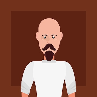 Hipster style with cartoon man with mustache  over brown background