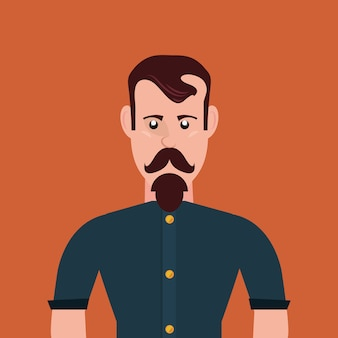 Hipster style with cartoon man with mustache over orange background