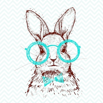 A hipster stylish rabbit. hand drawn sketch for poster