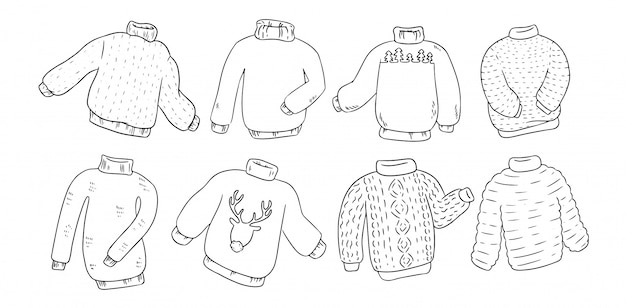 Hipster sweaters set for coloring