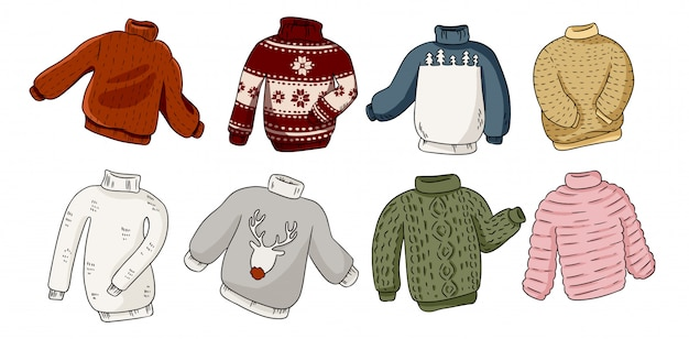 Hipster sweaters set Premium Vector