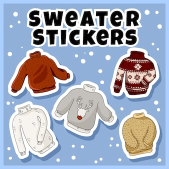 Hipster sweaters stickers set. collection of colorful labels
