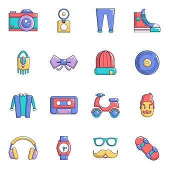 Hipster symbols icons set