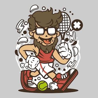 Hipster tennis player cartoon
