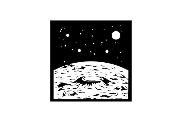 Битник винтаж ретро луна планета поверхности науки для футболки дизайн логотипа вектор
