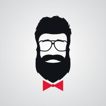 レトロなサングラスでひげを生やしたヒップスター