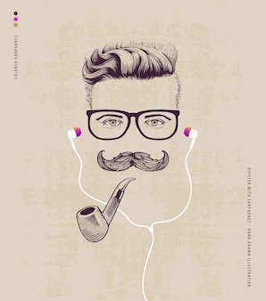 Hipster with smoking pipe and earphones