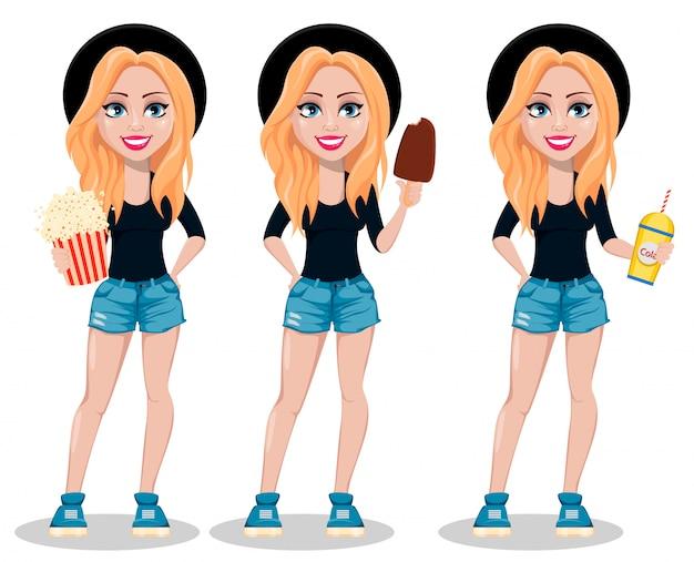 Hipster woman cartoon character