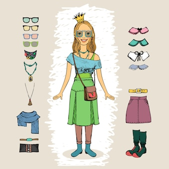 Hipster woman with crown and glasses character set