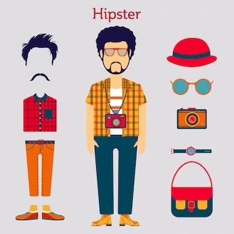 Мужской персонаж hipster с элементами и значками хипстера.