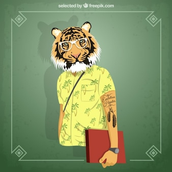 Hipster студент тигр