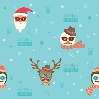 クリスマスhipsterシームレスパターン