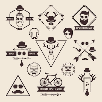 Hipsters badges templates with place for your text.  icons set labels hipster with mustache and head of deer illustration