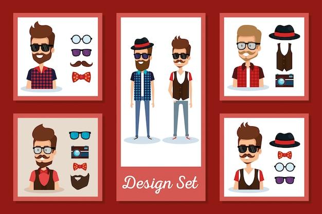 Hipsters men card set