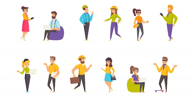 Hipsters people character flat set