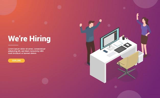 Hire or hiring designer concept for website or web template landing design