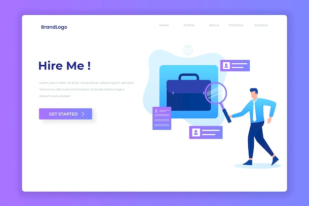 Hire me illustration vector concept for websites landing pages