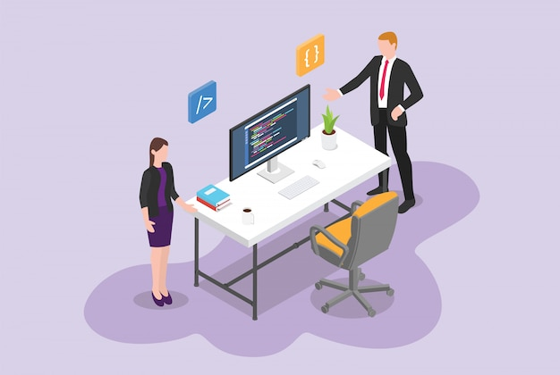 Hire programmer or software developer vacancy concept with empty chair program with isometric