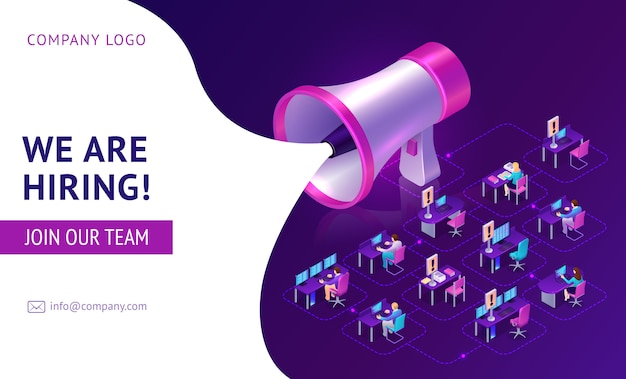 Hiring agency, human resources isometric landing