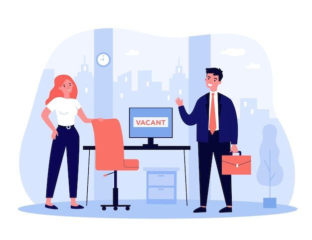 Концепция найма и занятости. сотрудник приходит в офис на собеседование, менеджер по найму встречает его на пустом рабочем месте. по трудоустройству, вакансии, тематике найма