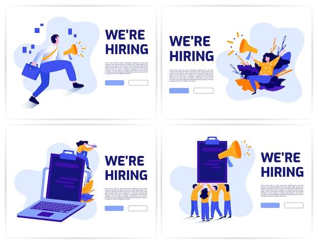 雇用とオンライン求人募集コンセプトセットバナー