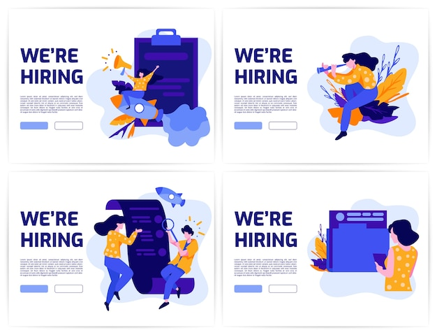 雇用とオンライン求人募集コンセプトセット。