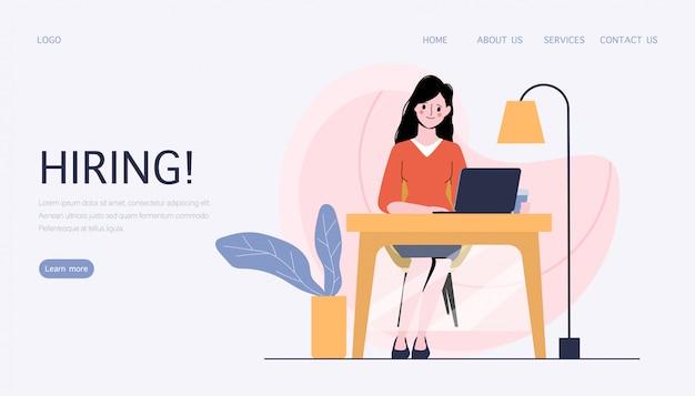비즈니스 사람들이 문자로 고용 및 온라인 모집 개념.